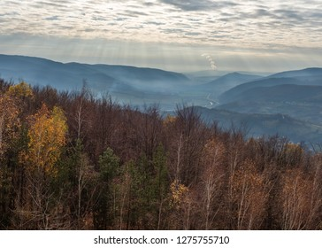 View on Stiavnicke vrchy mountain and Mochovce from the view tower in Nova Bana Slovakia
