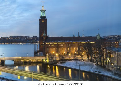 View on the Stockholm City Hall in the Gamla Stan (Old Town) at night,  Sweden