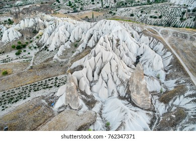 View on stone formations in Cappadocia, Central Anatolia, Turkey