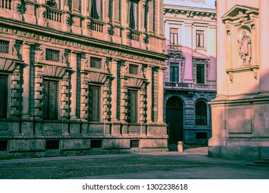 the view on the street of Milan city in Italy