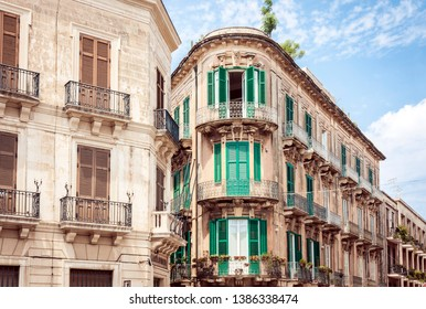 View on street of Syracuse (Siracusa), Sicily, Italy  - facade of an ancient building, traditional architecture