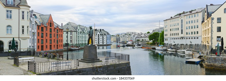 view on streets and houses at city of Alesund , Norway, panorama