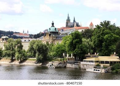 View on the summer Prague gothic Castle above River Vltava, Czech Republic