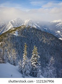 View on the Summit of Sulphur Mountain in Banff National Park, Alberta, Canada in Winter