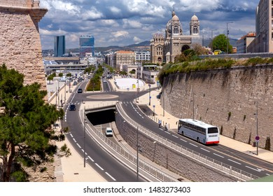 View on a sunny day at the fort of St. John in the old port. Marseilles. France.