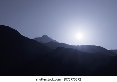 view on sunrise above Himalayas mountains from McLeod Ganj, India