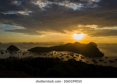 View on the sunset in Labuan Bajo, Indonesia.