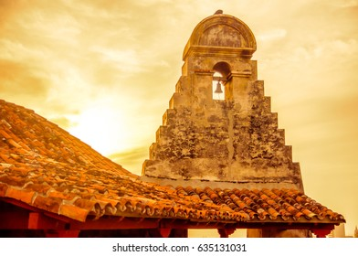 View on sunset over Stone Tower of Castillo in Cartagena