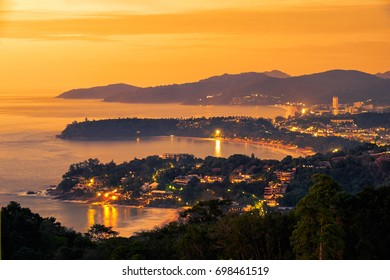 View on Sunset in western coast of Phuket island, from Karon View Point, Thailand.