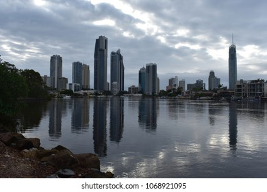 View on Surfers Paradise and the Nerang River in early morning