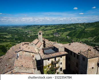 View on the surroundings of medieval fortress Vigoleno in Emilia-Romagna, Italy