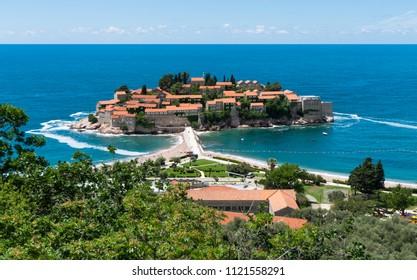 View on Sveti Stefan island in Montenegro