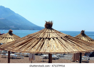 The view on the Sveti Stefan island from the beach in Montenegro