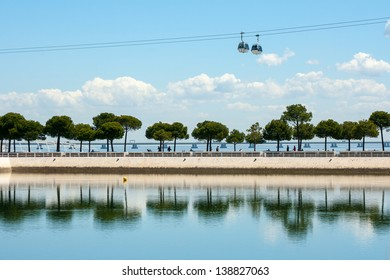 view on Tagus river in Park of Nations in Lisbon, Portugal
