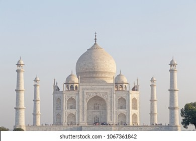 view on Taj Mahal with four minarets in Agra, India