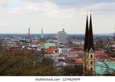 view on tall buildings in bielefeld germany photographed during a sightseeing tour at a sunny day