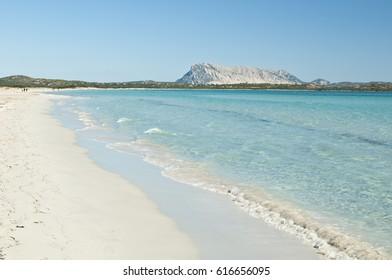 View on Tavolara Island from La Cinta beach. San Teodoro, Sardinia, Italy