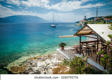 View on a terrace and, Sami bay, Cephalonia,Greece