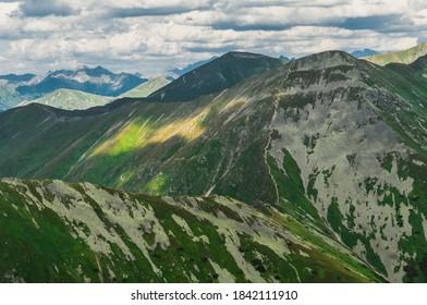 View on top Jarzabczy Wierch (Hruby vrch). Border Poland and Slovakia. Tatras, Carpathian, Europe. Magical mountain landscape. - Shutterstock ID 1842111910