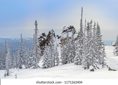 View on top of Mount Utuya. Winter landscape in Altay Mountains. Siberia, Kemerovo region