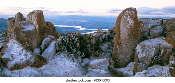 View on top of Mount Wellington in Hobart, Tasmania during the day.
