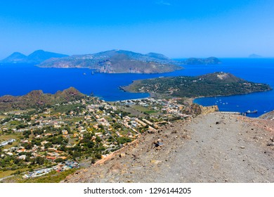 View on top of Vulcano Island to Lipari and Salina Island of the Aelian Islands, Italy on a summer day with blue sky