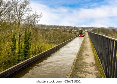 A view on top of the worlds highest aqueduct at Pontcysyllte near Llangollen, Wales