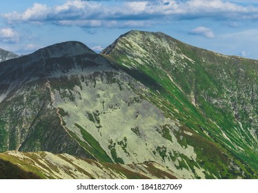 View on tops Jarzabczy Wierch (Hruby vrch) and Raczkowa Czuba (Jakubina). High Tatras Carpathian. Slovakia, Europe. Magical mountain landscape. - Shutterstock ID 1841827069