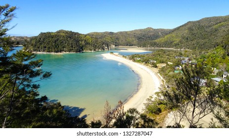 view on Torrent Bay, one of stops for hikers and backapackers hiking on popular hiking trail Abel Tasman Coast Track in Abel Tasman National park, South Island of New Zealand (NZ)