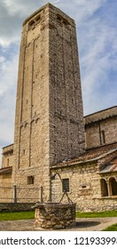 View on the tower of the church of San Giorgio in Valpolicella in the province of Verona, Veneto - Italy