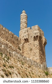 View on Tower of David, at the old city walls of Jerusalem