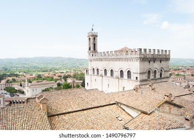 View on Town Hall of medieval city of Gubbio and hills around