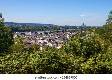 View on town Konigswinter and city Bonn in background, Germany