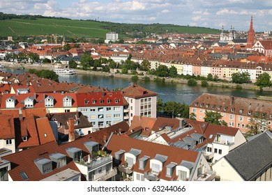 View on the town Würzburg and on the river  Main.