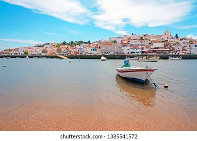 View on the traditional village Ferragudo in the Algarve Portugal