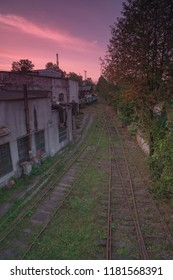 View on train depot at sunset