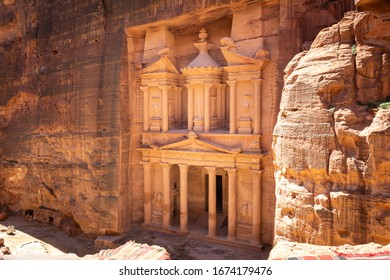 View on The Treasury from the viewpoint in ancient city of Petra, near Wadi Musa, Jordan