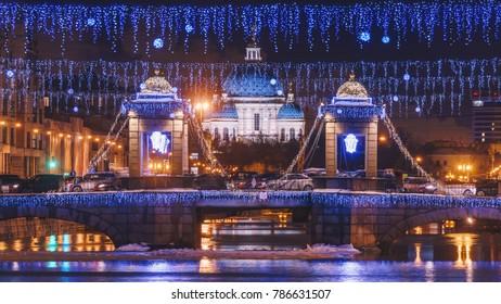 view on Trinity cathedral and Lomonosov bridge in Fontanka river, Saint-Petersburg, Russia