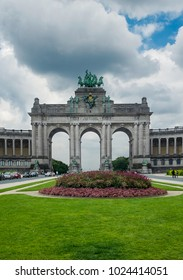 View on the The Triumphal Arch in Cinquantenaire Parc in Brussels.