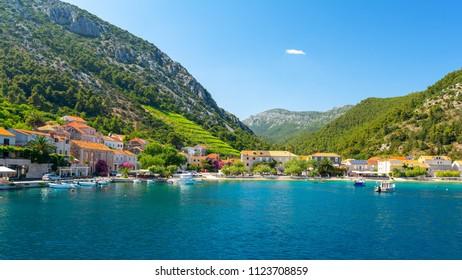 view on Trstenik village from the sea, Peljesac peninsula, Dalmatia, Croatia