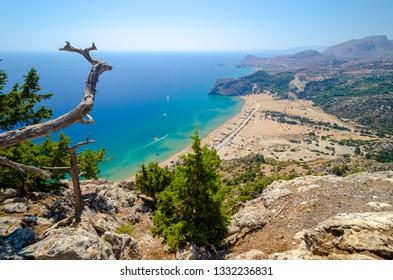 view on Tsambika beach on Rhodes island Greece