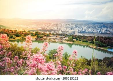 View on Turtle lake in Tbilisi, Georgia