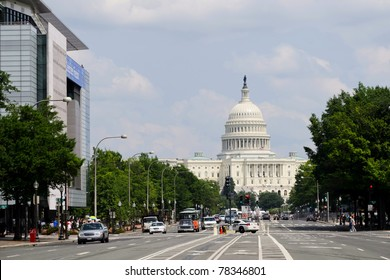 View on US Capitol from Pennsylvania avenue in Washington DC