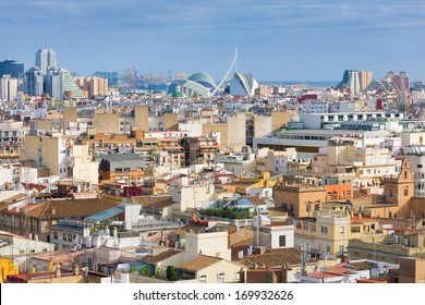 View on Valencia and port in a summer day