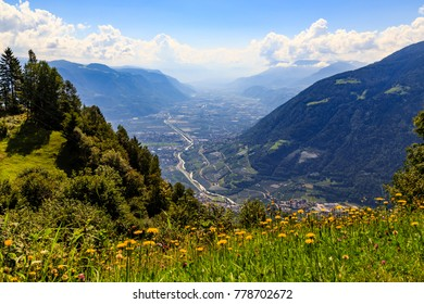 view on the valley of Adige in South Tyrol near Meran, Italy