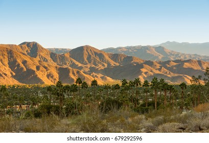 View on the valley with the city of Palm Springs and San Jacinto Mountains in the background.