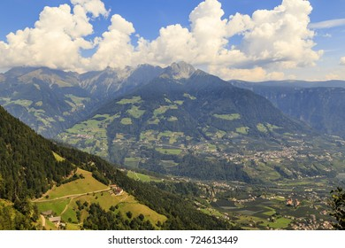 view on a valley in South Tyrol near Meran, Italy