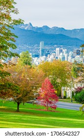 View on Vancouver Downtown and Mountains with Fall Colours. British Columbia. Canada.