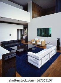 view on very nice and light living room interior with aquarium