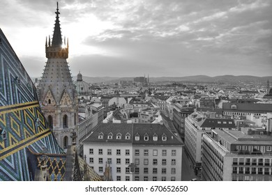 View on Vienna old town from Stephansdom, St. Stephen's Cathedral